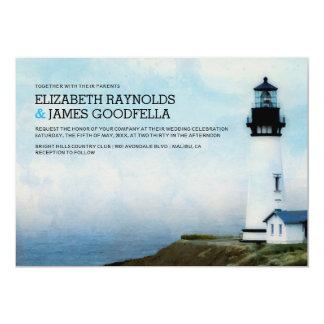Elegant Lighthouse Wedding Invitations