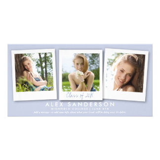 Elegant Lilac 3 Photo Graduation Announcement Card