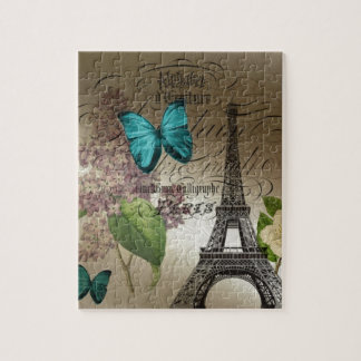 Elegant lilac butterfly Eiffel Tower vintage paris Jigsaw Puzzles
