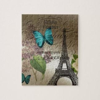 Elegant lilac butterfly Eiffel Tower vintage paris Puzzles