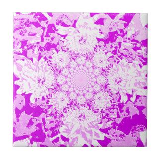Elegant Lilac  Floral Dahlia Flower Pattern Ceramic Tile