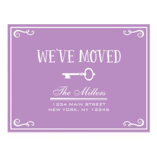 Elegant Lilac Purple Key Moving Announcement Postcard
