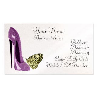 Elegant Lilac Stiletto Shoe and Yellow Butterfly B Business Card Template
