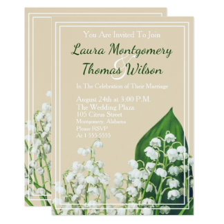 Elegant Lily of the Valley Flowers Wedding Card