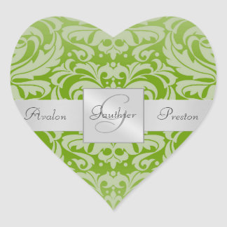 Elegant Lime Damask Heart Wedding Sticker
