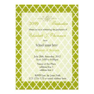 Elegant lime yellow quatrefoil pattern graduation custom announcements