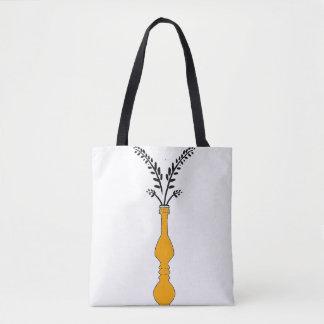 Elegant long vase illustrated tote bag
