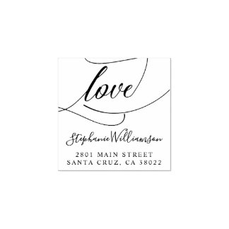Elegant Love Script Wedding Return Address Rubber Stamp
