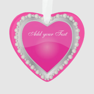 Elegant Love Shiny Hot Pink Silver Jewel Heart Ornament