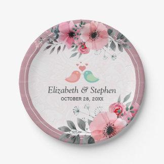 Elegant Lovely Watercolor Floral Wedding Shower Paper Plate