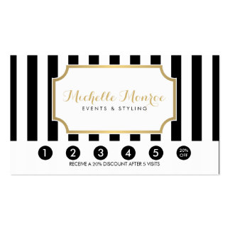 Elegant Luxe Bold Black and White Stripes Loyalty Pack Of Standard Business Cards