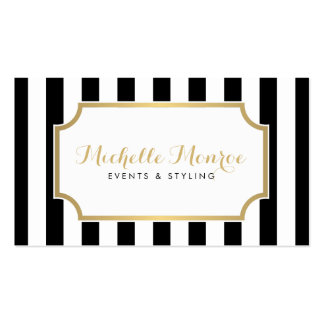 Elegant Luxe Bold Black and White Stripes Pack Of Standard Business Cards