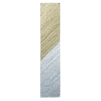 Elegant Luxurious Faux Gold & Silver Paint Strokes Short Table Runner