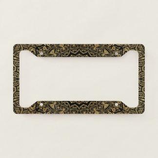 Elegant Luxury Black Gold Mandala Licence Plate Frame