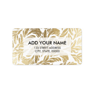 Elegant luxury custom faux gold foil floral damask address label