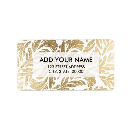 Elegant luxury custom faux gold foil floral damask address label