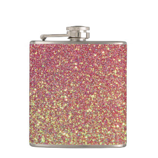 Elegant Luxury Faux Glitter Pink Rose Gold Hip Flask