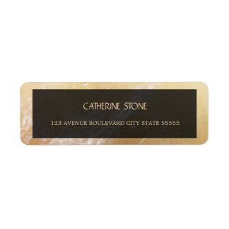 Elegant luxury gold marble and black wedding return address label