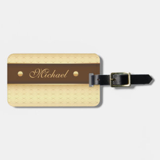 Elegant Luxury in Gold and Brown Luggage Tag