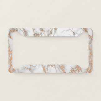 Elegant Luxury Rose Gold Marble Pattern Licence Plate Frame