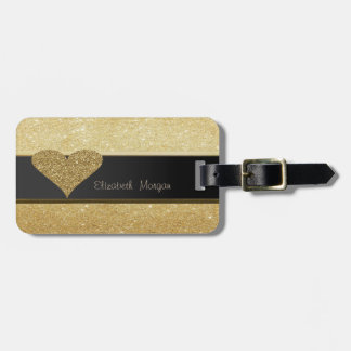 Elegant Luxury Sophisticated ,Glittery Heart Luggage Tag