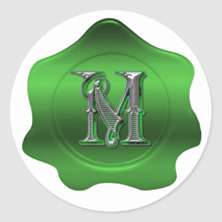 Elegant M Monogram Green Wax Seal Look Sticker