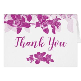 Elegant Magenta Orchids Floral Thank You Card