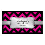 Elegant Magenta Pink and Black Chevron Pattern Business Card Template