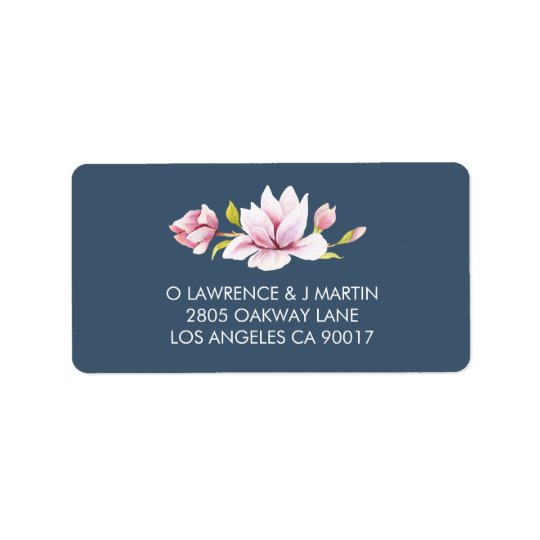 Elegant Magnolia Floral Watercolor Label