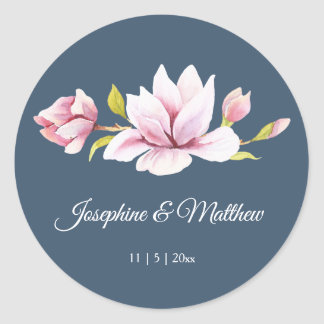 Elegant Magnolia Floral Wedding Stickers