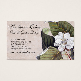 Elegant Magnolia with Vintage Textures Background Business Card