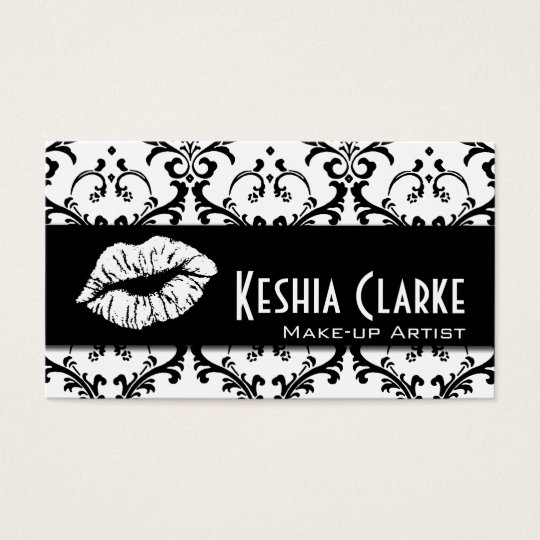 Elegant Makeup Artist Business Cards Damask