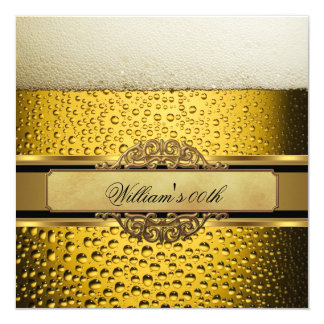 Elegant Mans Beer Black Gold Birthday Party Mens 13 Cm X 13 Cm Square Invitation Card
