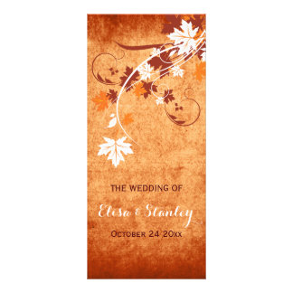 Elegant maple leaves orange fall wedding program rack card template