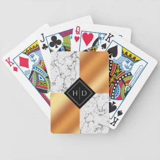 Elegant Marble and Copper Foil Wedding Keepsake Bicycle Playing Cards