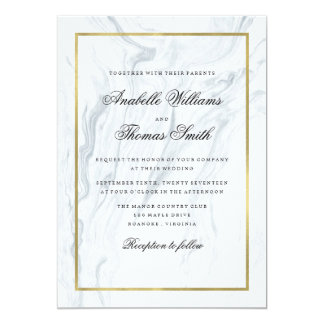 Elegant Marble and Gold Wedding 13 Cm X 18 Cm Invitation Card