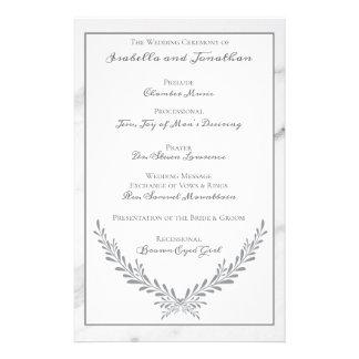 Elegant Marble and Wreath Wedding Program Flyer