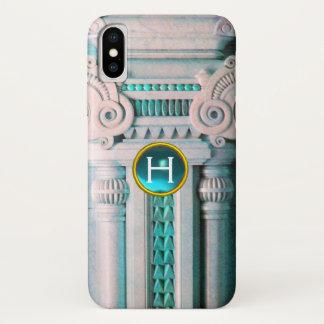 ELEGANT MARBLE COLUMN,PINK BLUE GEM STONE MONOGRAM iPhone X CASE