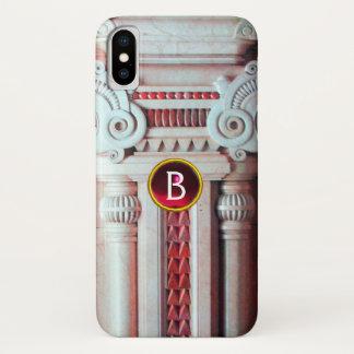 ELEGANT MARBLE COLUMN,PINK RED GEM STONE MONOGRAM iPhone X CASE