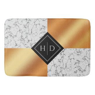 Elegant Marble & Copper Foil Bath Mat