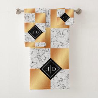 Elegant Marble & Copper Foil Checkered Couple's Bath Towel Set