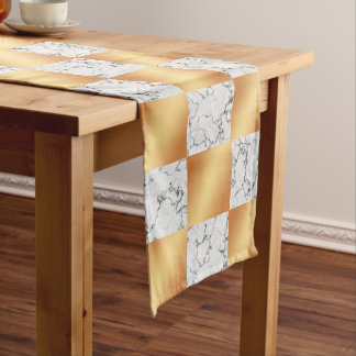 Elegant Marble & Copper Foil Checkered Wedding Long Table Runner