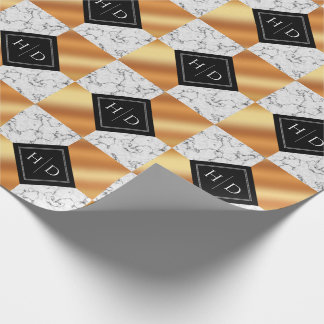 Elegant Marble & Copper Foil Checkered Wedding Wrapping Paper