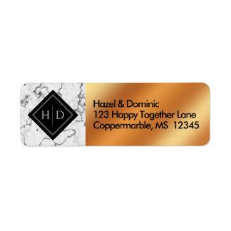 Elegant Marble & Copper Foil Return Address Label