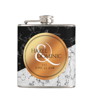 Elegant Marble & Copper Foil Wedding Keepsake Hip Flask