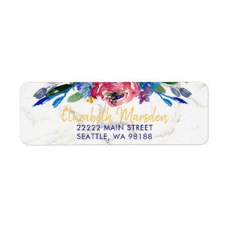 Elegant Marble Gold Hand Lettered Burgundy Floral Return Address Label