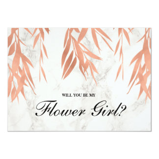 Elegant Marble Rose Gold   Be My Flower Girl Card