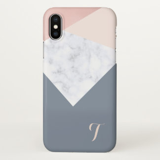 elegant marble rose gold grey beige geometric iPhone x case