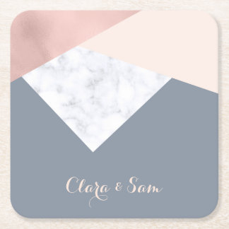 elegant marble rose gold grey beige geometric square paper coaster