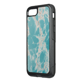 Elegant Marble Stone Turquoise and White Otterbox OtterBox Commuter iPhone 8/7 Case